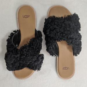 UGG Black Sheepskin Open Toe Leather Slide 10 🆕